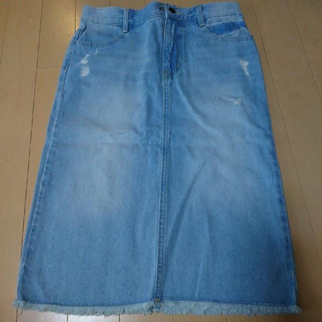 GU(ジーユー)の新品未使用、デニムスカート140 キッズ/ベビー/マタニティのキッズ服 女の子用(90cm~)(スカート)の商品写真