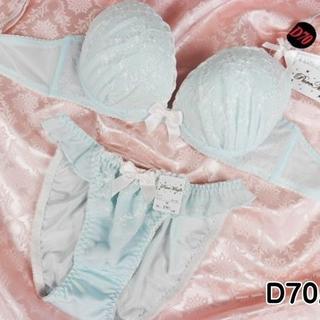 019★D70 M★美胸ブラ ショーツ Wパッド フラワー刺繍 ラメ 水色(ブラ&ショーツセット)