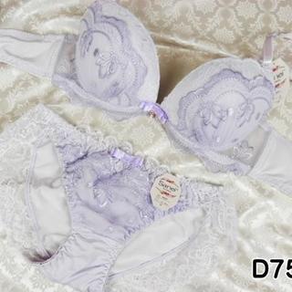088★D75 M★ブラ ショーツ Wパッド 姫系レース&刺繍 紫(ブラ&ショーツセット)