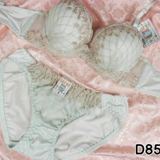 104★D85 L★美胸ブラ ショーツ 谷間メイク ダイアチェック刺繍 緑(ブラ&ショーツセット)