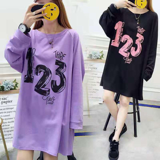 LAUA068春秋レディースオーバーサイズ綿ロングTシャツ(2色L-4XL)(ロングワンピース/マキシワンピース)