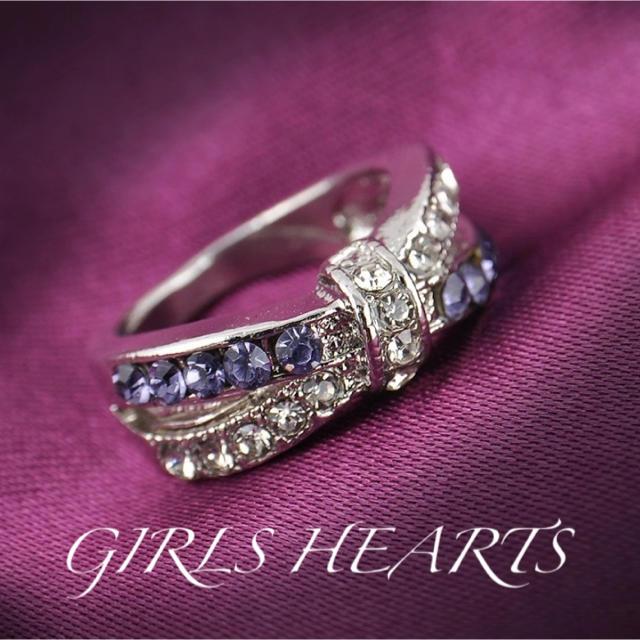 送料無料22号クロムシルバーアメジストスーパーCZダイヤデザイナーズリング指輪 レディースのアクセサリー(リング(指輪))の商品写真