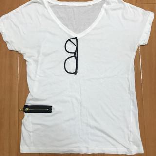 アダムエロぺ(Adam et Rope')のスパンコールメガネTシャツ(Tシャツ(半袖/袖なし))