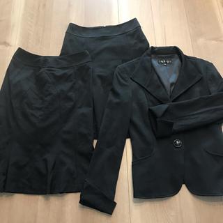 インディヴィ(INDIVI)のINDIVI スーツ セットアップ スカート ジャケット 黒 オフィスカジュアル(スーツ)