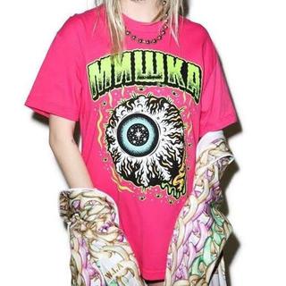 ミシカ(MISHKA)のMISHKA ミシカ Keep watch Tシャツ ピンク Sサイズ 半袖 目(Tシャツ/カットソー(半袖/袖なし))