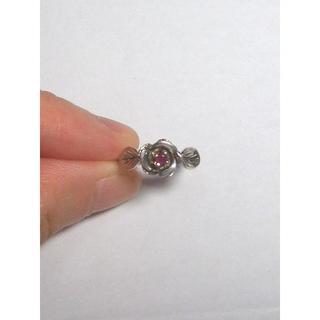 中古:天然石 パワーストーン 天然ルビー シルバー925 ローズフラワー型リング(リング(指輪))