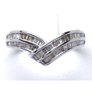 お値引き不可 K18WG 合計0.53ct 天然 ダイヤ V字 リング(リング(指輪))