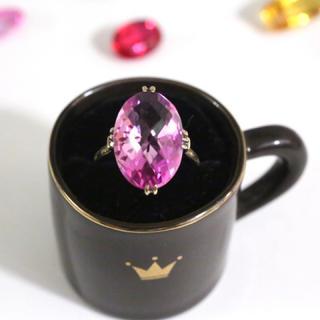 ビンテージ ピンクの合成石☆指輪(リング(指輪))
