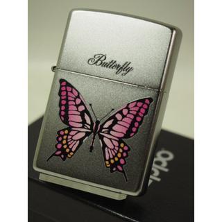 ジッポー(ZIPPO)のZippo バタフライ・蝶(カラー)チョウ ピンク(タバコグッズ)