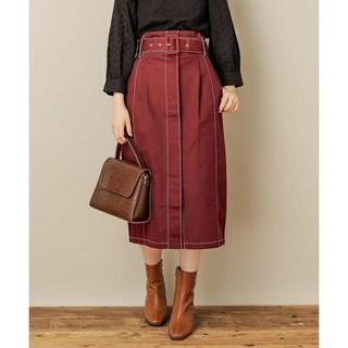 ナチュラルクチュール(natural couture)の配色ステッチベルト付きチノスカート ボルドー(ロングスカート)