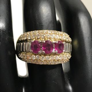18金リング ルビー1.10キャラットダイヤモンド0.92キャラット 15号(リング(指輪))