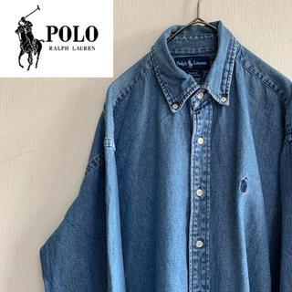 POLO RALPH LAUREN - ラルフローレン 90s デニムシャツ BDシャツ ワンポイント 刺繍 ポニー