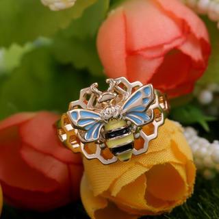 特価!ミツバチデザインのステンレスリング ポップ系 10、11号相当(リング(指輪))
