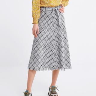 ザラ(ZARA)のzara ベルト付きチェック柄スカート(ロングスカート)