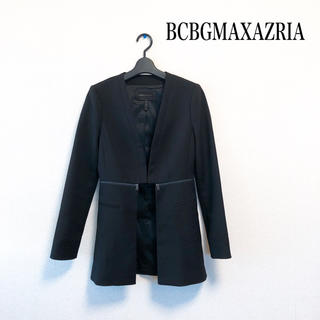 BCBGMAXAZRIA - 【美品】BCBGMAXAZRIA ノーカラー ジャケット 黒 美シルエット♡