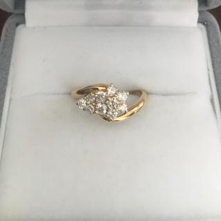 ダイヤモンド フラワー リング K18YG 0.50ct 2.2g(リング(指輪))
