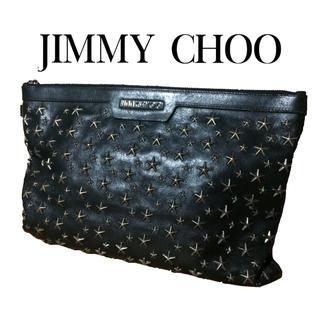 ジミーチュウ(JIMMY CHOO)の【定価¥166320】ジミーチュウ クラッチバッグ スタッズ 黒 レザー 本物(クラッチバッグ)