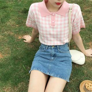 【ラスト一点】ギンガムチェック ピンク ポロシャツ パステルカラー