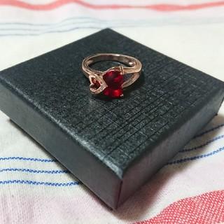 真っ赤なハートにときめく!!ピンクゴールド&レッドダイヤモンドリング(リング(指輪))