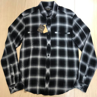 COMME CA MEN - 定価1.8万 新品 コムサメン/COMME CA MEN 長袖チェックシャツ 黒