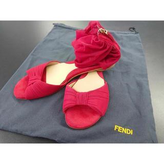FENDI - 新品未使用 FENDI シフォンに包まるスカーレット 深紅フラットサンダル