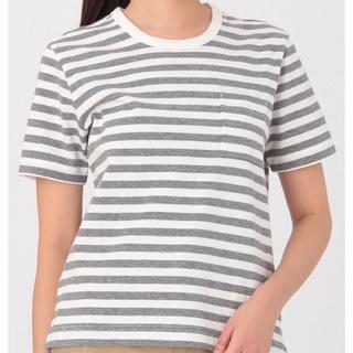 ムジルシリョウヒン(MUJI (無印良品))のオーガニックコットン太番手 クルーネック 半袖Tシャツ 白 ライトシルバーグレー(Tシャツ(半袖/袖なし))