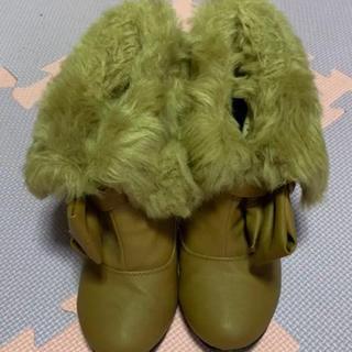 ショートブーツ ファー リボン M ブラウン 靴 ブーツ(ブーツ)