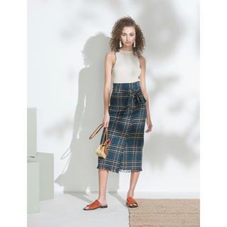 ミラオーウェン(Mila Owen)のミラオーウェン 今期完売 新品タグ付 チェック フリンジ スカート(ひざ丈スカート)
