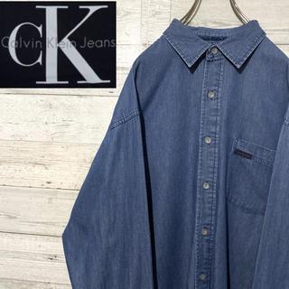 Calvin Klein - 【レア】カルバンクライン☆刺繍ワンポイントロゴ 長袖デニムシャツ