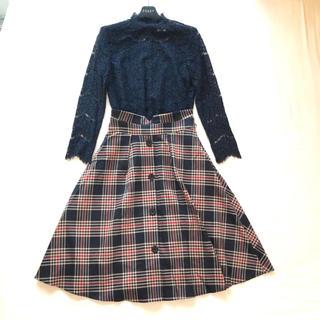 ミッシュマッシュ(MISCH MASCH)の美品 ミッシュマッシュ 18AW前ボタンチェック柄スカート(ひざ丈スカート)