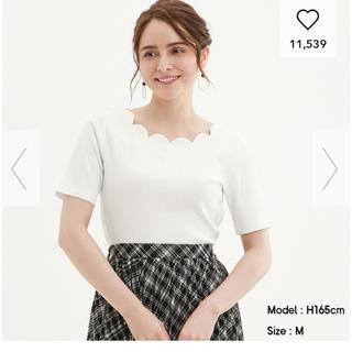 GU - 美品 ジーユー スカラップネックTシャツ 白 XL