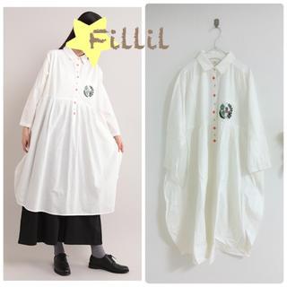 メルロー(merlot)の新品Fillil カワウソ刺繍シャツワンピース(ひざ丈ワンピース)