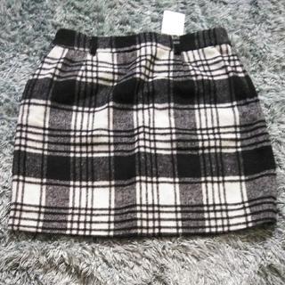 シャギーチェックタイトスカート L