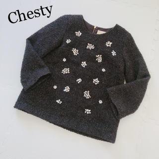 チェスティ(Chesty)のChesty♡ビジュー厚手トップス(カットソー(長袖/七分))