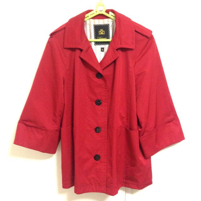 Drawer(ドゥロワー)のDrawer ドゥロワー ジャケット アウター 赤 レッド リボン 羽織り レディースのジャケット/アウター(トレンチコート)の商品写真
