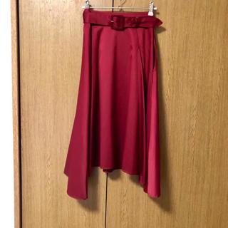 snidel - 新品未使用タグ付き ミディアム丈 Aライン フレアスカート 赤 sサイズ