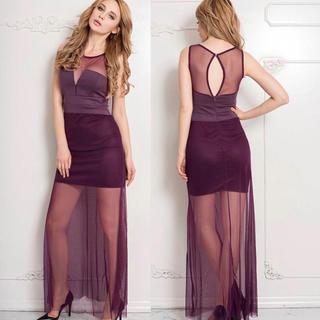 ◆新品◆インポート◆パープル✕シースルー美ラインロングドレス◆(ロングドレス)
