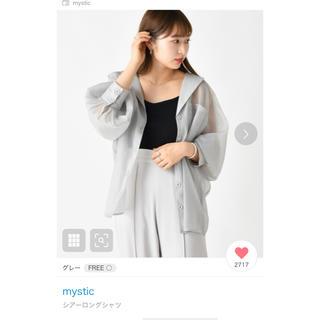 mystic - mystic シアーロングシャツ