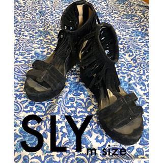 SLY/フリンジサンダル/BLACK