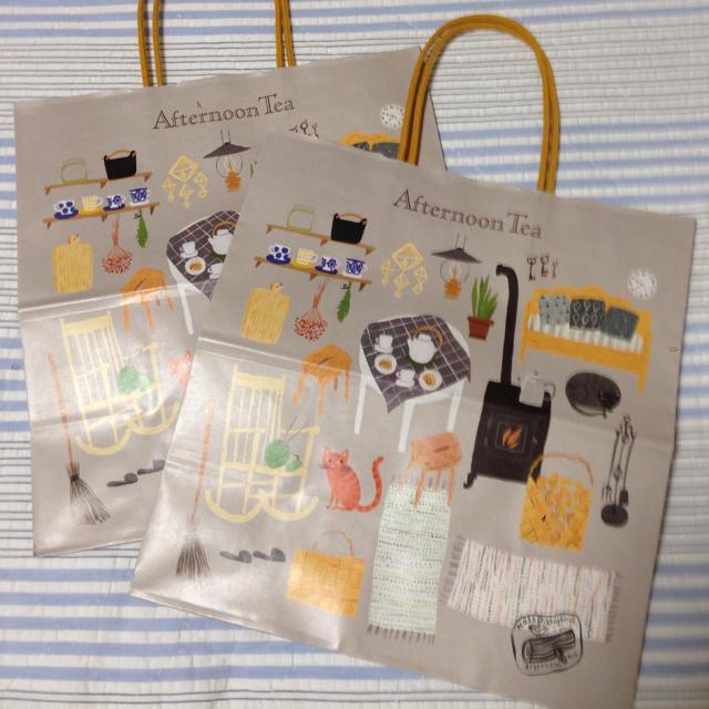 AfternoonTea(アフタヌーンティー)のアフタヌーンティー ★ 限定 紙袋 ショッパー 2枚セット レディースのバッグ(ショップ袋)の商品写真