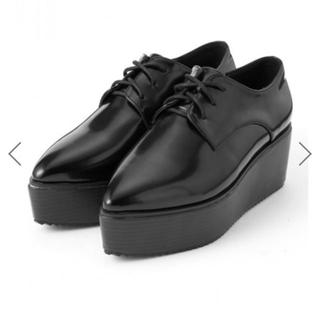 グレイル(GRL)の ポインテッドトゥレースアップ厚底ローファー(ローファー/革靴)