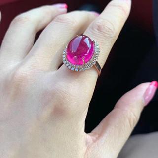 天然赤トルマリン ダイヤモンド  リング 14.5ct(リング(指輪))