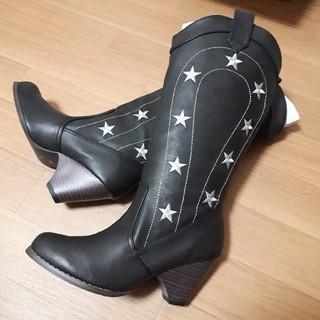 ロングブーツ 星刺繍 ブラックS(ブーツ)