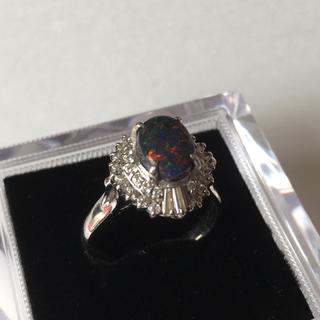 Pt900 ブラック オパール ダイヤモンド リング 14号(リング(指輪))