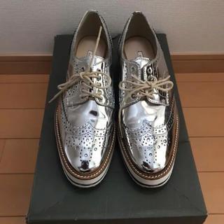 ZARA シューズ シルバー(ローファー/革靴)