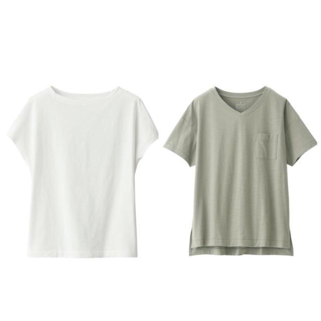 MUJI (無印良品)(ムジルシリョウヒン)の新品   無印良品  ムラ糸天竺編みフレンチスリーブTシャツ  VネックTシャツ レディースのトップス(Tシャツ(半袖/袖なし))の商品写真