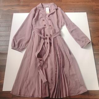 evelyn - 新品 開襟 ロングワンピース くすみピンク シフォン袖