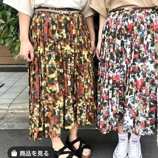 DOUBLE NAME - 花柄プリーツスカート