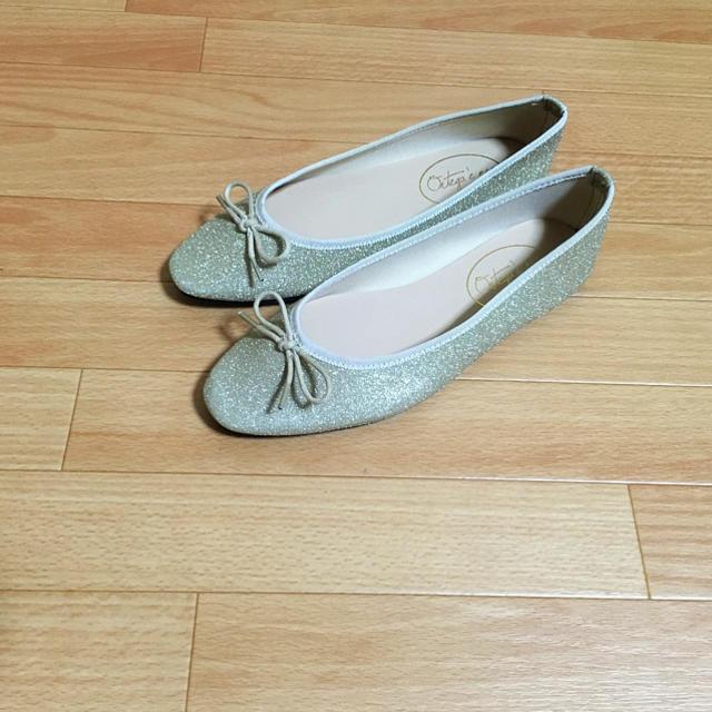 w closet(ダブルクローゼット)のダブル クローゼット パンプス バレエ フラット ゴールド 24 レディースの靴/シューズ(バレエシューズ)の商品写真