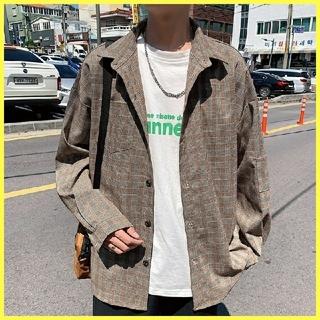 オーバーサイズ シャツ☆長袖 オルチャン ユニセックス レトロ系 古着系 開襟(シャツ)